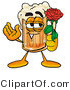 Illustration of a Beer Mug Mascot Holding a Red Rose on Valentines Day by Toons4Biz