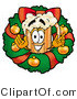 Illustration of a Beer Mug Mascot in the Center of a Christmas Wreath by Toons4Biz