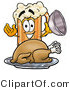 Illustration of a Beer Mug Mascot Serving a Thanksgiving Turkey on a Platter by Toons4Biz