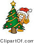 Illustration of a Beer Mug Mascot Waving and Standing by a Decorated Christmas Tree by Toons4Biz