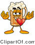 Illustration of a Beer Mug Mascot with His Heart Beating out of His Chest by Toons4Biz