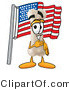 Illustration of a Bone Mascot Pledging Allegiance to an American Flag by Toons4Biz