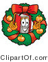 Illustration of a Book Mascot in the Center of a Christmas Wreath by Toons4Biz