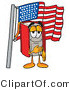 Illustration of a Book Mascot Pledging Allegiance to an American Flag by Toons4Biz