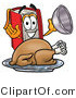Illustration of a Book Mascot Serving a Thanksgiving Turkey on a Platter by Toons4Biz