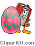 Illustration of a Book Mascot Standing Beside an Easter Egg by Toons4Biz