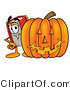 Illustration of a Book Mascot with a Carved Halloween Pumpkin by Toons4Biz