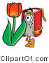 Illustration of a Book Mascot with a Red Tulip Flower in the Spring by Toons4Biz
