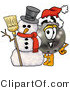 Illustration of a Bowling Ball Mascot with a Snowman on Christmas by Toons4Biz