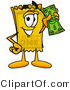 Illustration of a Cartoon Admission Ticket Mascot Holding a Dollar Bill by Toons4Biz