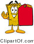 Illustration of a Cartoon Admission Ticket Mascot Holding a Yellow Sales Price Tag by Toons4Biz