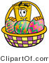 Illustration of a Cartoon Admission Ticket Mascot in an Easter Basket Full of Decorated Easter Eggs by Toons4Biz