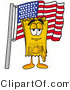Illustration of a Cartoon Admission Ticket Mascot Pledging Allegiance to an American Flag by Toons4Biz