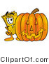 Illustration of a Cartoon Admission Ticket Mascot with a Carved Halloween Pumpkin by Toons4Biz