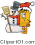 Illustration of a Cartoon Admission Ticket Mascot with a Snowman on Christmas by Toons4Biz