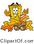 Illustration of a Cartoon Admission Ticket Mascot with Autumn Leaves and Acorns in the Fall by Toons4Biz