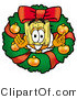 Illustration of a Cartoon Broom Mascot in the Center of a Christmas Wreath by Toons4Biz