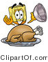 Illustration of a Cartoon Broom Mascot Serving a Thanksgiving Turkey on a Platter by Toons4Biz
