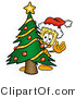 Illustration of a Cartoon Broom Mascot Waving and Standing by a Decorated Christmas Tree by Toons4Biz