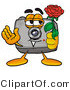 Illustration of a Cartoon Camera Mascot Holding a Red Rose on Valentines Day by Toons4Biz
