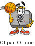 Illustration of a Cartoon Camera Mascot Spinning a Basketball on His Finger by Toons4Biz