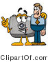 Illustration of a Cartoon Camera Mascot Talking to a Business Man by Toons4Biz