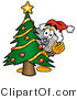 Illustration of a Cartoon Camera Mascot Waving and Standing by a Decorated Christmas Tree by Toons4Biz