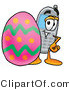 Illustration of a Cartoon Cellphone Mascot Standing Beside an Easter Egg by Toons4Biz