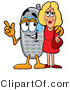 Illustration of a Cartoon Cellphone Mascot Talking to a Pretty Blond Woman by Toons4Biz