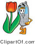 Illustration of a Cartoon Cellphone Mascot with a Red Tulip Flower in the Spring by Toons4Biz