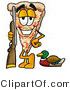 Illustration of a Cartoon Cheese Pizza Mascot Duck Hunting, Standing with a Rifle and Duck by Toons4Biz