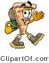 Illustration of a Cartoon Cheese Pizza Mascot Hiking and Carrying a Backpack by Toons4Biz