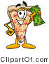 Illustration of a Cartoon Cheese Pizza Mascot Holding a Dollar Bill by Toons4Biz
