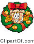 Illustration of a Cartoon Cheese Pizza Mascot in the Center of a Christmas Wreath by Toons4Biz
