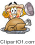 Illustration of a Cartoon Cheese Pizza Mascot Serving a Thanksgiving Turkey on a Platter by Toons4Biz