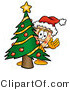 Illustration of a Cartoon Cheese Pizza Mascot Waving and Standing by a Decorated Christmas Tree by Toons4Biz
