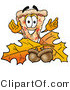 Illustration of a Cartoon Cheese Pizza Mascot with Autumn Leaves and Acorns in the Fall by Toons4Biz
