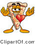 Illustration of a Cartoon Cheese Pizza Mascot with His Heart Beating out of His Chest by Toons4Biz