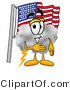 Illustration of a Cartoon Cloud Mascot Pledging Allegiance to an American Flag by Toons4Biz