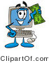 Illustration of a Cartoon Computer Mascot Holding a Dollar Bill by Toons4Biz