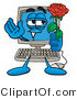 Illustration of a Cartoon Computer Mascot Holding a Red Rose on Valentines Day by Toons4Biz