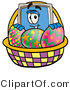 Illustration of a Cartoon Computer Mascot in an Easter Basket Full of Decorated Easter Eggs by Toons4Biz