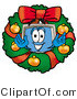 Illustration of a Cartoon Computer Mascot in the Center of a Christmas Wreath by Toons4Biz