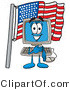 Illustration of a Cartoon Computer Mascot Pledging Allegiance to an American Flag by Toons4Biz