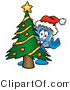 Illustration of a Cartoon Computer Mascot Waving and Standing by a Decorated Christmas Tree by Toons4Biz