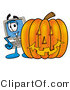 Illustration of a Cartoon Computer Mascot with a Carved Halloween Pumpkin by Toons4Biz