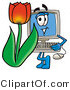 Illustration of a Cartoon Computer Mascot with a Red Tulip Flower in the Spring by Toons4Biz