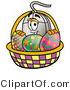 Illustration of a Cartoon Computer Mouse Mascot in an Easter Basket Full of Decorated Easter Eggs by Toons4Biz