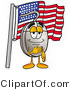 Illustration of a Cartoon Computer Mouse Mascot Pledging Allegiance to an American Flag by Toons4Biz