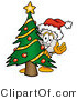Illustration of a Cartoon Computer Mouse Mascot Waving and Standing by a Decorated Christmas Tree by Toons4Biz
